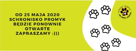 OD 25 MAJA 2020 SCHRONISKO PROMYK BĘDZIE PONOWNIE OTWARTE ZAPRASZAMY )))