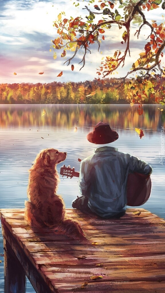 tapeta-na-telefon-czlowiek-z-gitara-i-pies-na-pomoscie